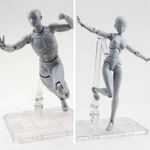 Body Kun Posable Figurines For Artists - Grey Black Yellow Colour