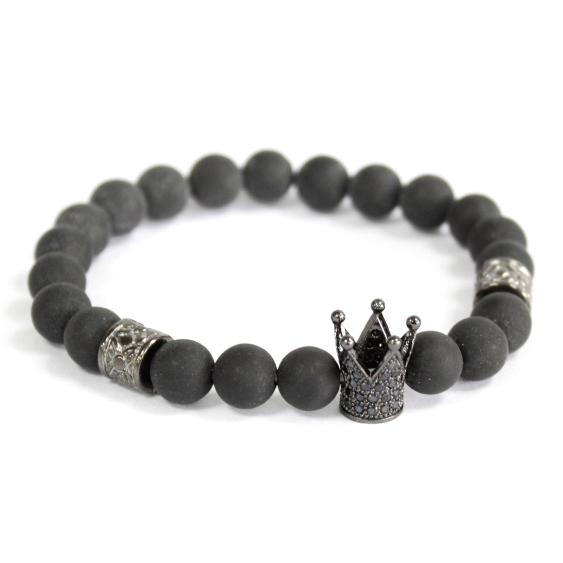 Black Agate Crystal Crown Charm Bracelet (Set of 3)