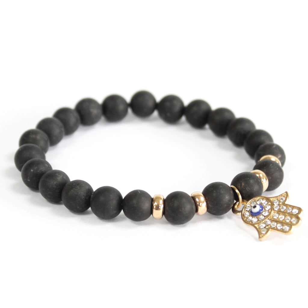 Black Agate Hamsa Hand Charm Bracelet (Set of 3)