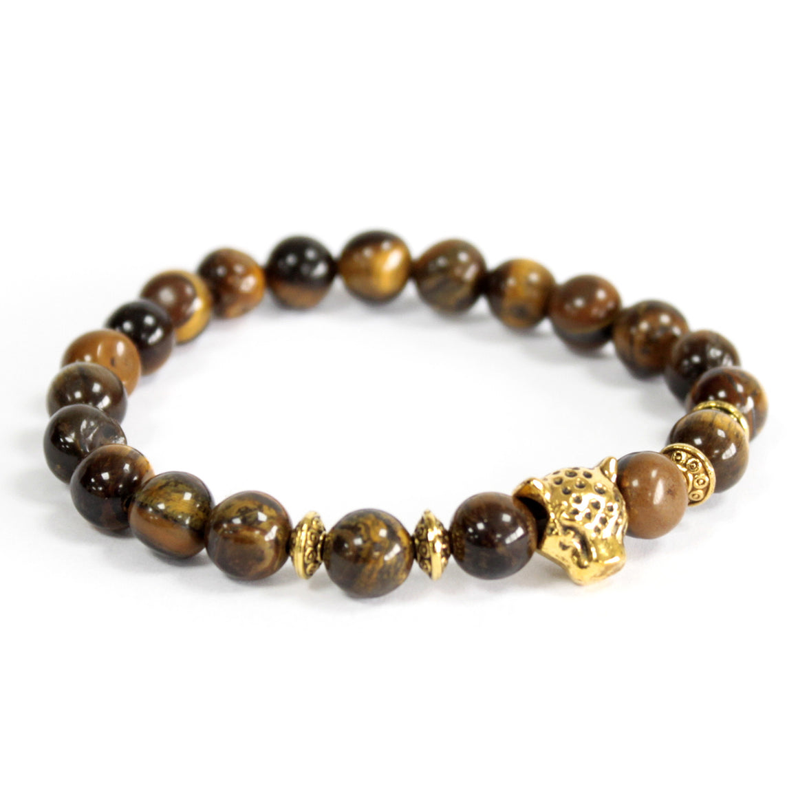 Tiger Eye Leopard Head Charm Bracelet (Set of 3)