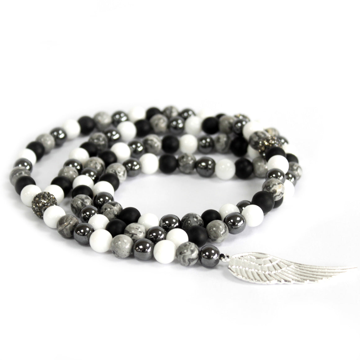 Grey Agate Mixed Angel Wing Charm Mala Beads