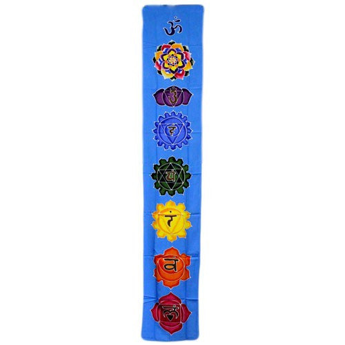 Chakra Drop Banner - Sky Blue - Wax Batik Wall Hangings