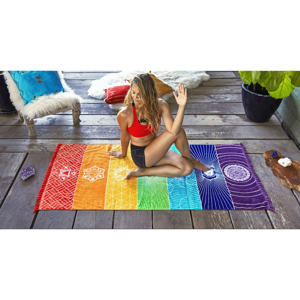 Cotton India Mandala Throw/Blanket 7 Chakra Rainbow Stripes Tapestry