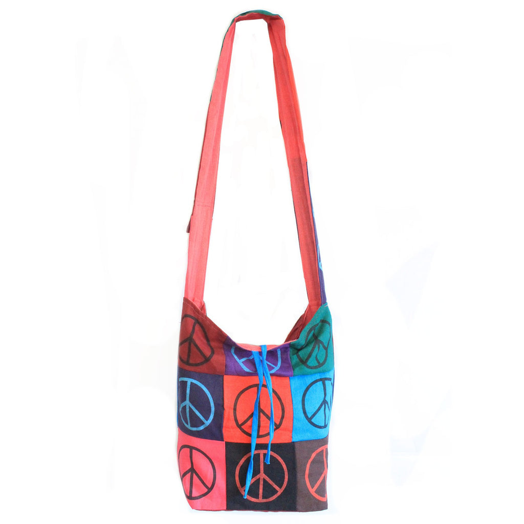 Peace Symbol Cotton Patch Sling Bag