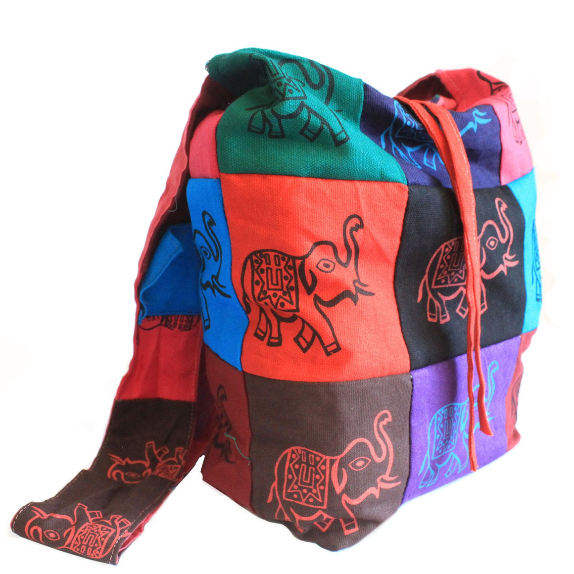 Elephant Cotton Patch Sling Bag