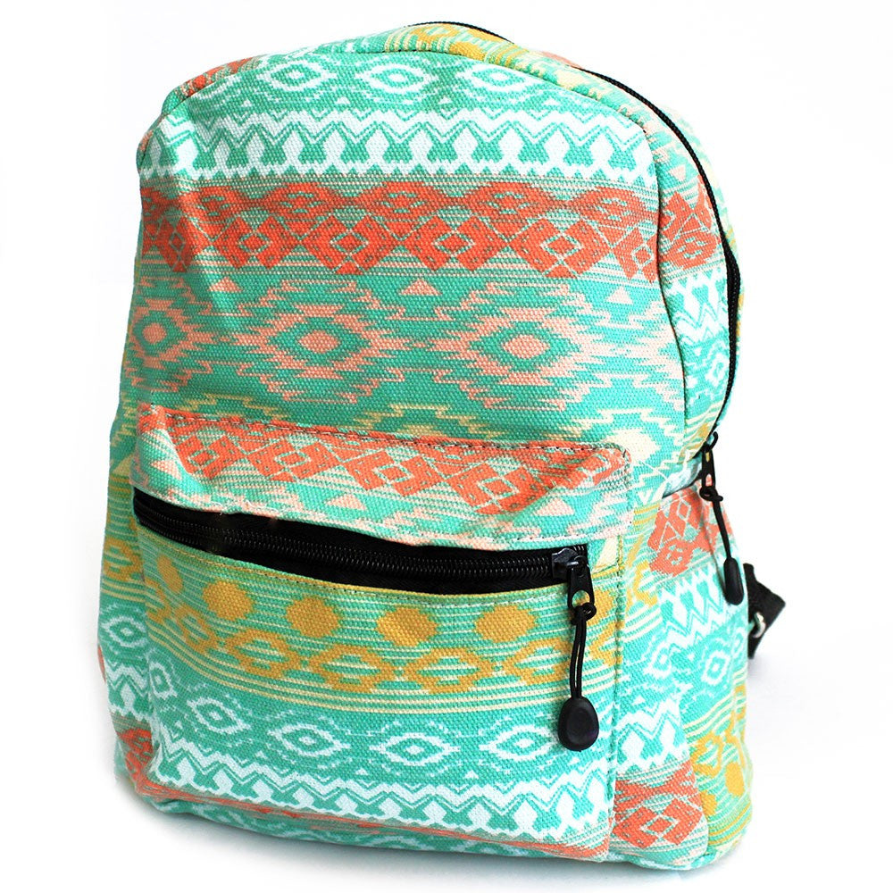 Teal Pastels Undersized Ethnic Backpack