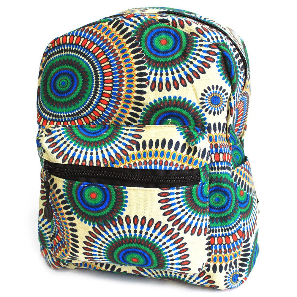 Cream Mandala Design Undersized Ethnic Backpack