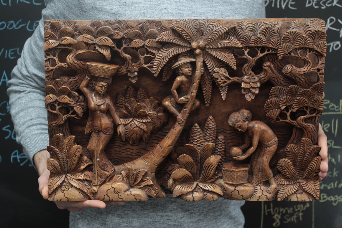 Artisan Hand Carved Palm Tree & Flowers Wooden Wall Panel