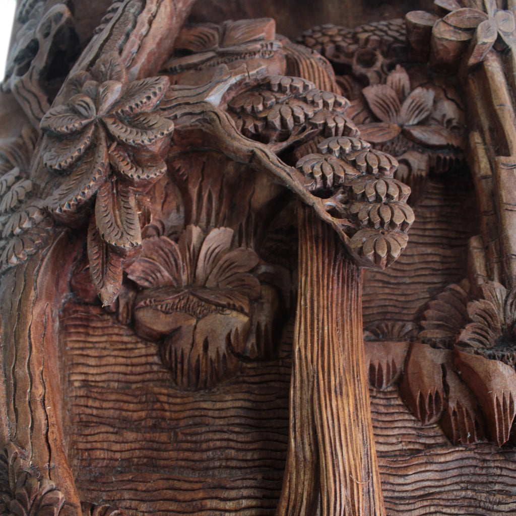 Artisan Hand Carved Rainforest & Waterfall Wooden Wall Panel