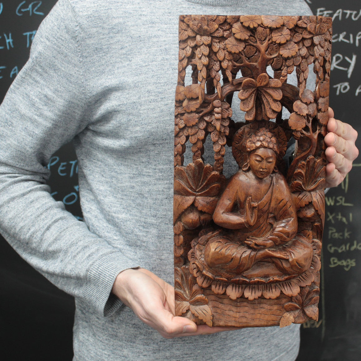 Artisan Hand Carved Buddha Wooden Wall Panel