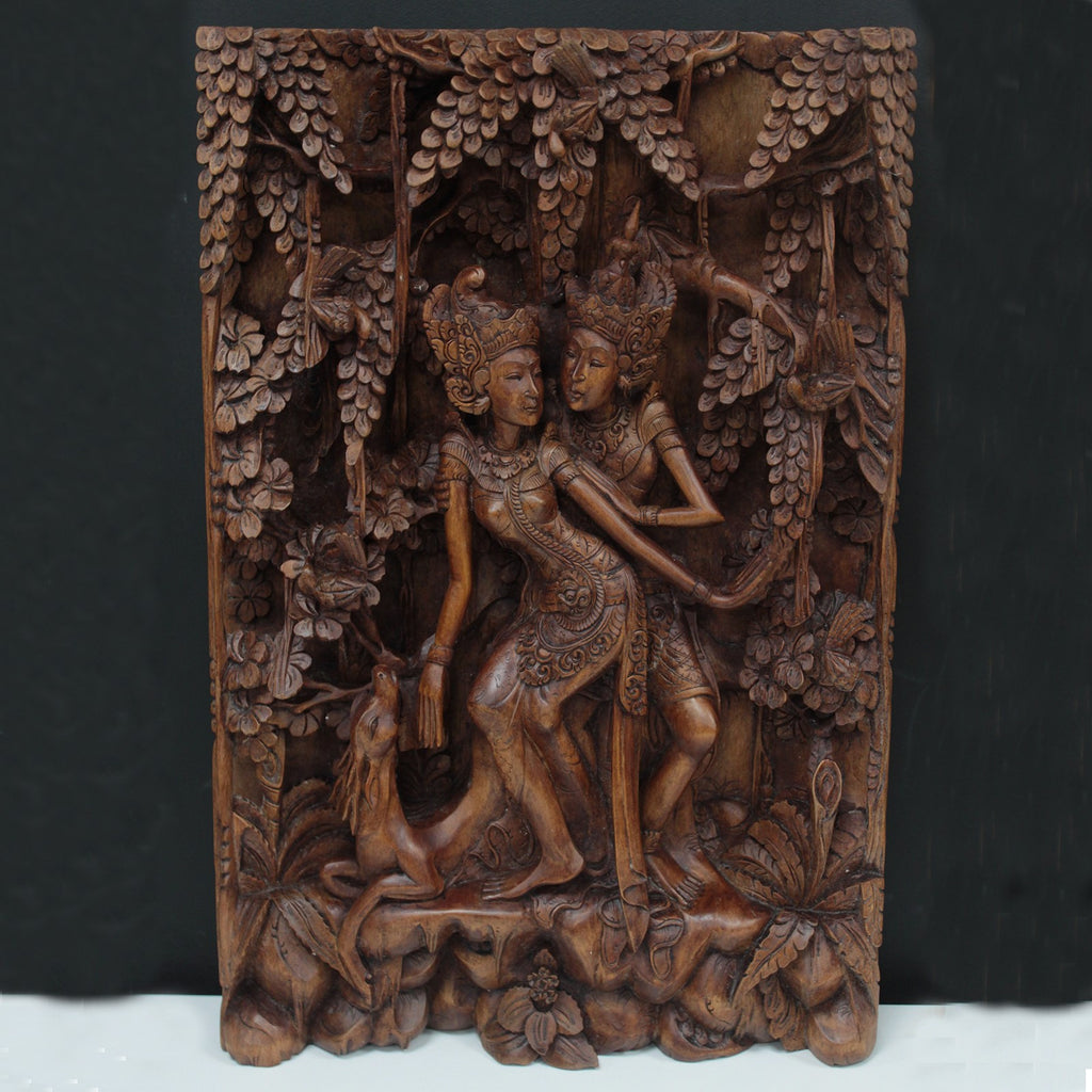 Artisan Hand Carved Lovers & Deer Wooden Wall Panel