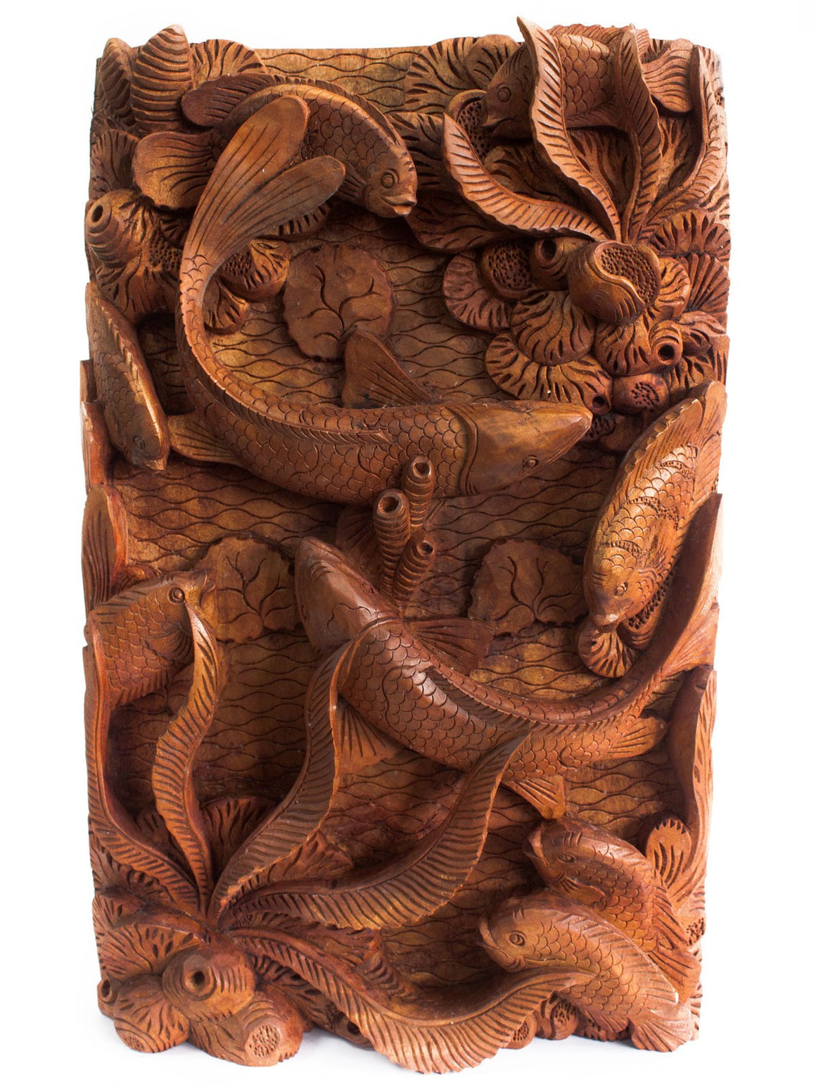 Artisan Hand Carved Fish & Coral Wooden Wall Panel