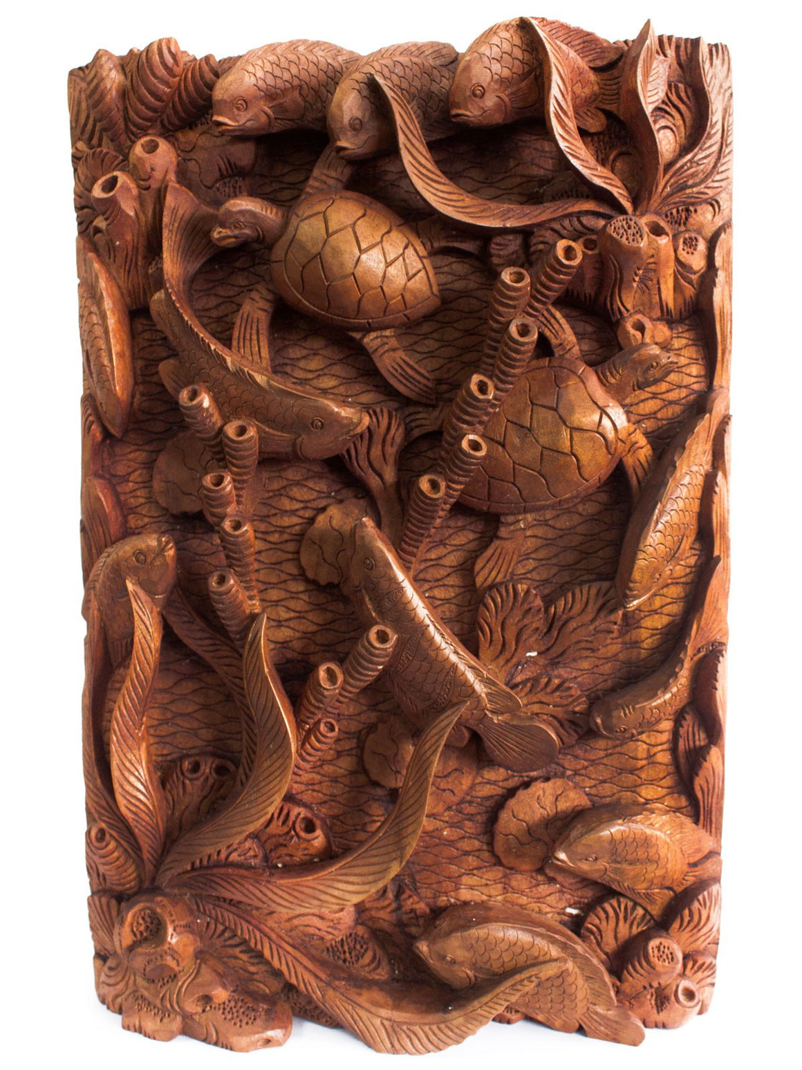Artisan Hand Carved Fish & Turtles Wooden Wall Panel