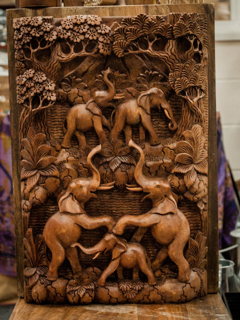 Artisan Hand Carved Elephants & Volcano Wooden Wall Panel