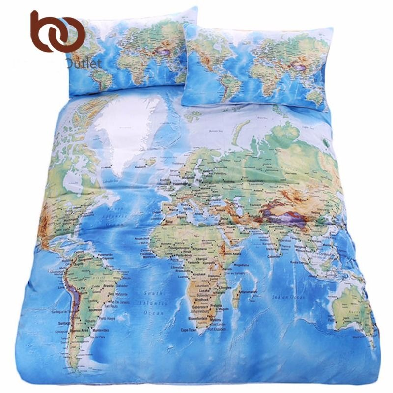 3 Pcs World Map Bedding Set Vivid Printed Blue Bed Duvet Cover with Pillowcase