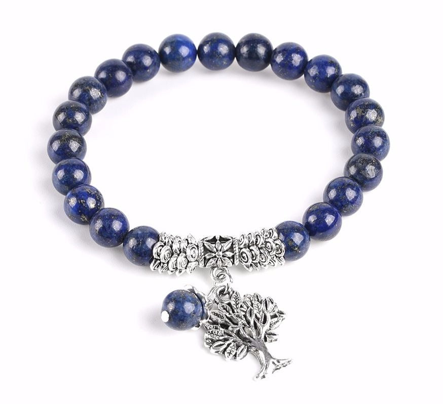 Natural Stone Lapis Lazuli Chakra Tree of Life Energy Bracelets/Mala Prayer