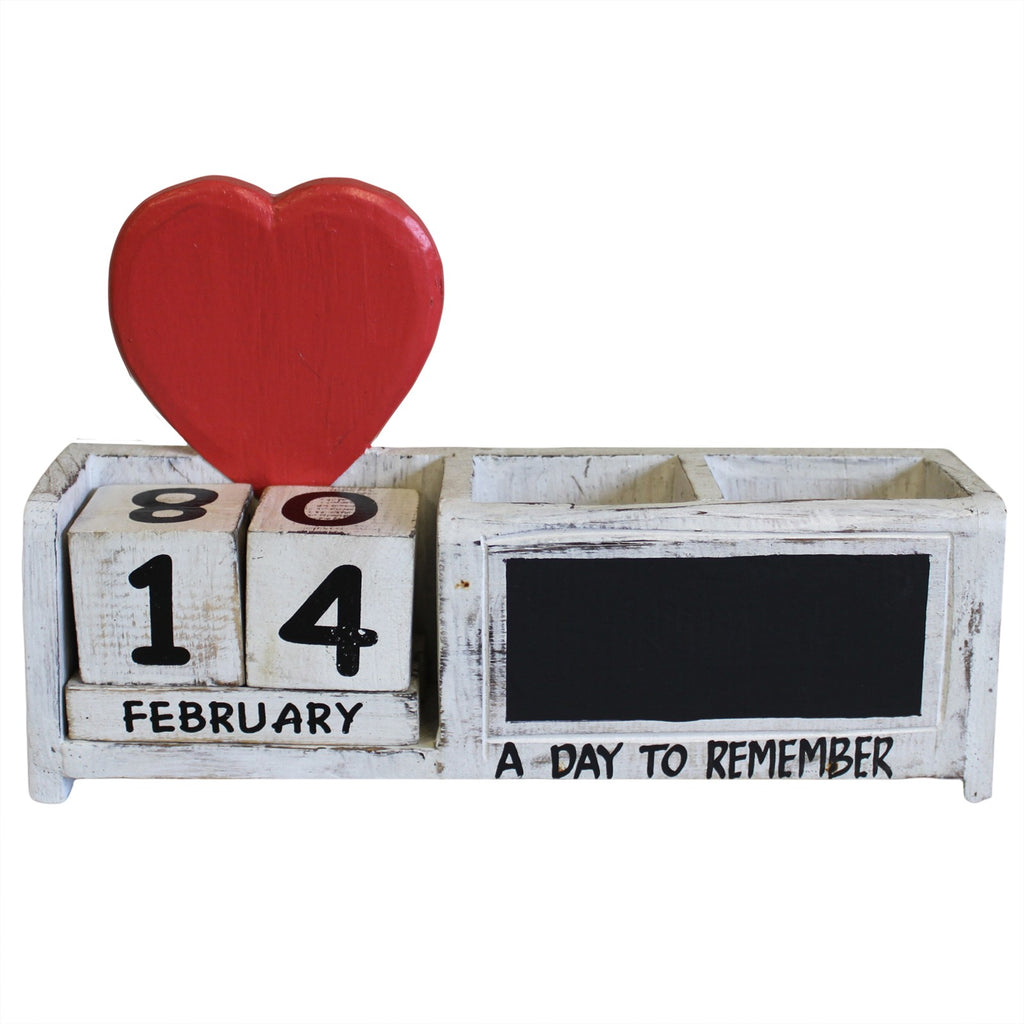 Day to Remember Pen Holder - White & Red Heart