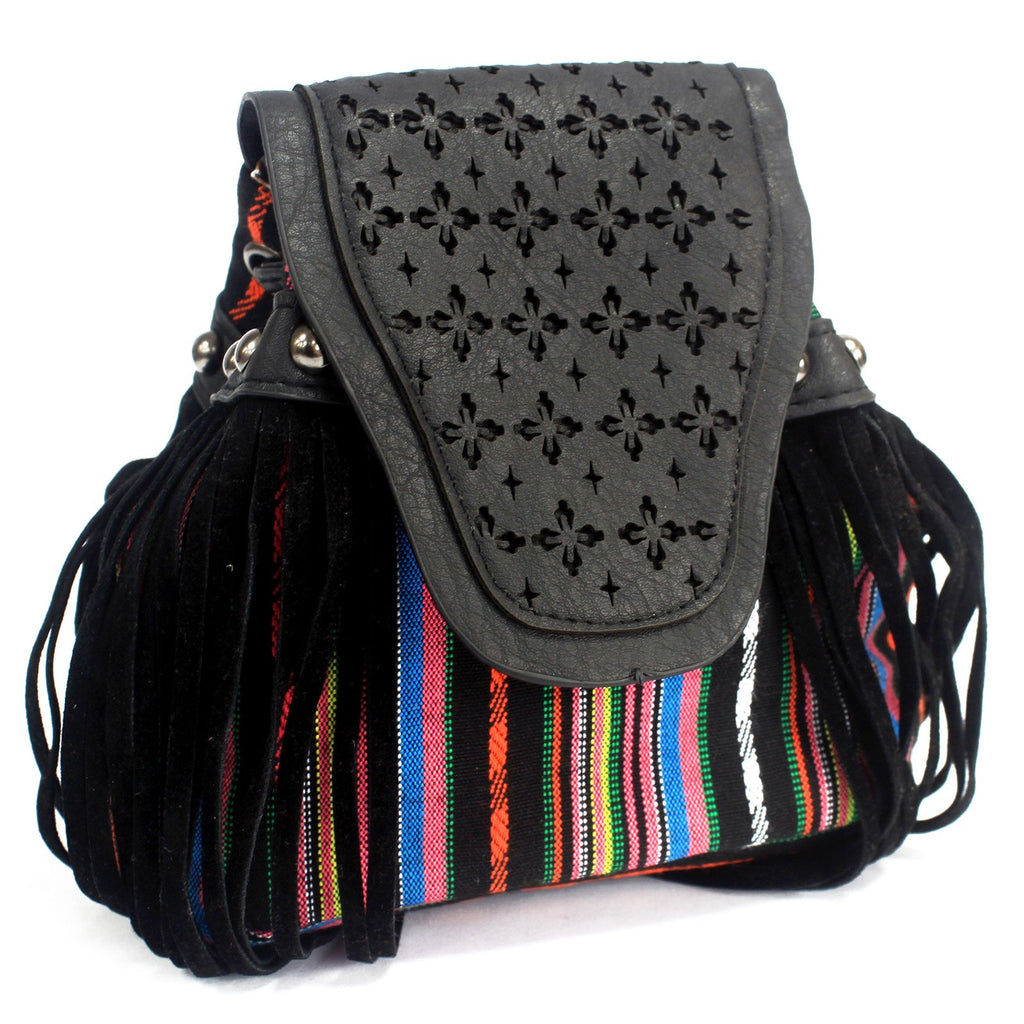 Venetian Black Stripy With Fringe Bag