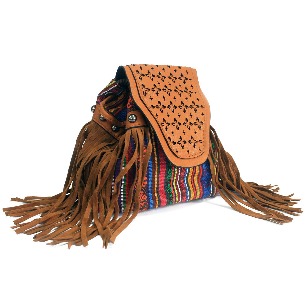 Venetian Light Brown Stripy With Fringe Bag