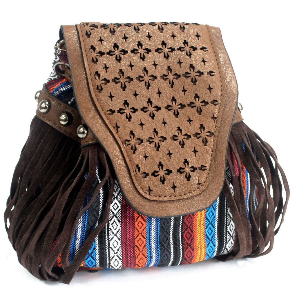 Venetian Chocolate Stripy With Fringe Bag