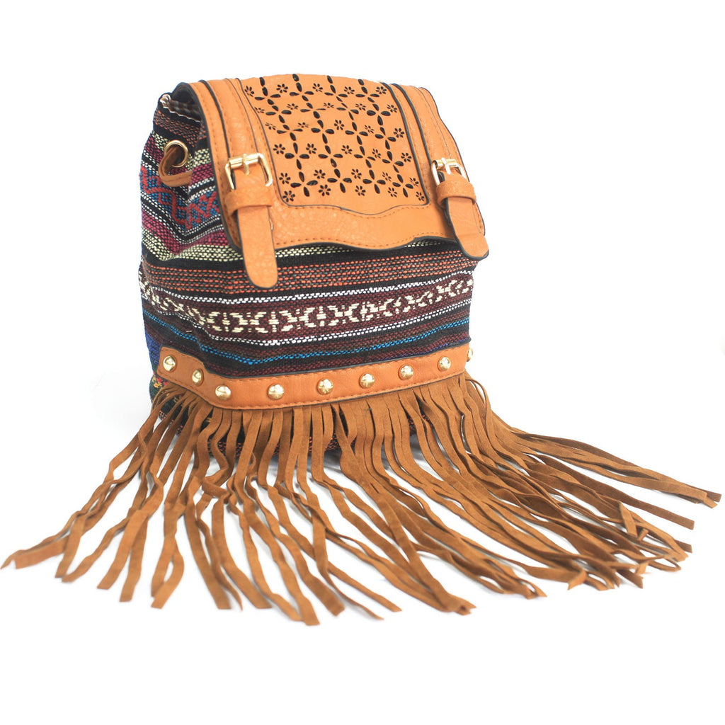 Bags, Brown, Gift, Italian Style, Italian Style Handbags, Light Brown Stripy With Fringe, Milan, Shoulder strap