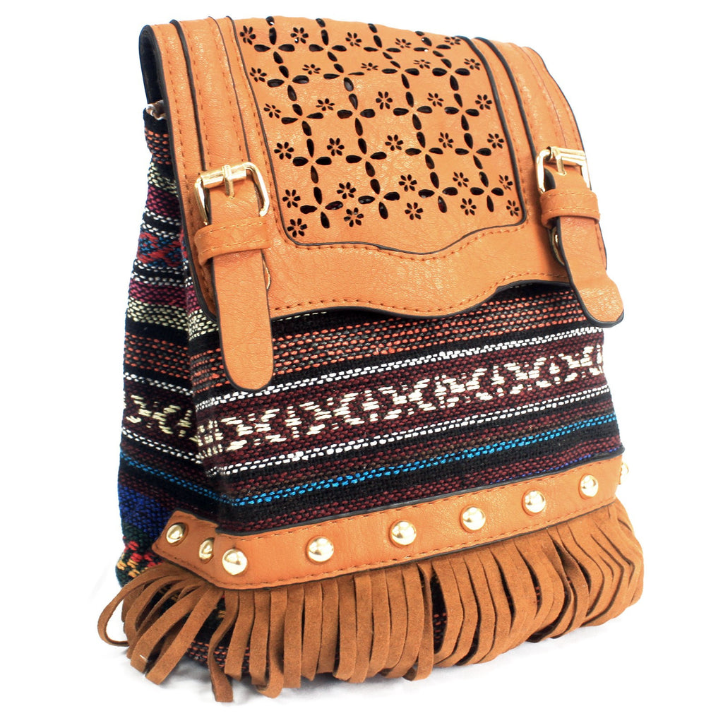 Milan Light Brown Stripy With Fringe Bag