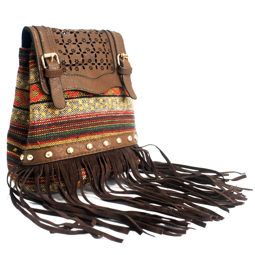 Milan Chocolate Stripy With Fringe Bag