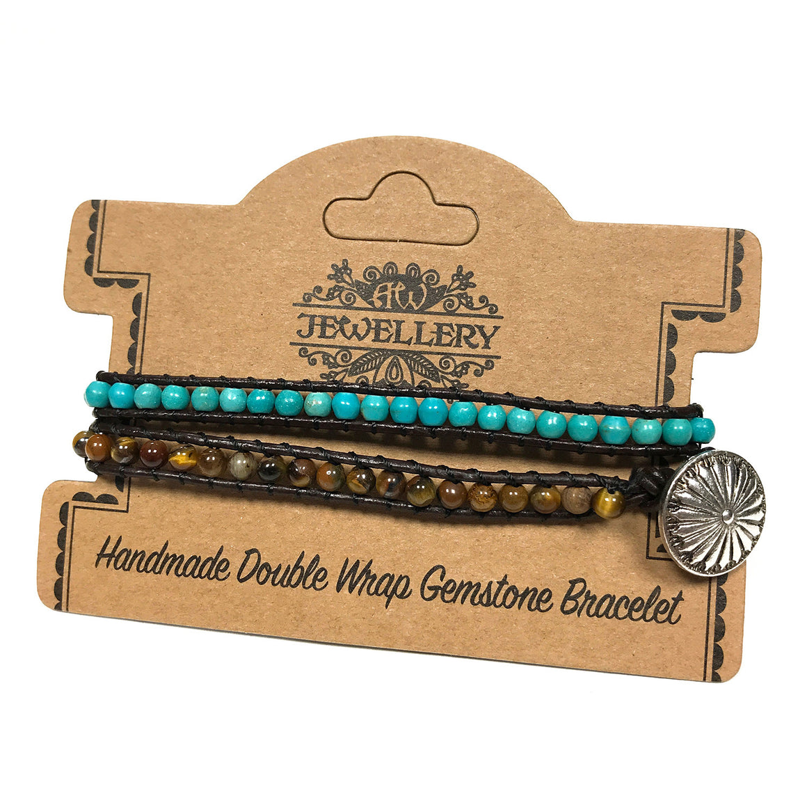 Double Wrap Turquoise and Tiger Eye Beads Bracelet