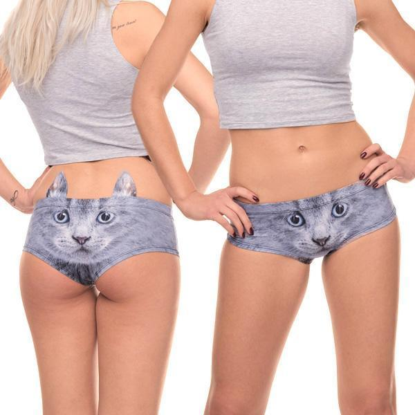 Women's 3D Animal Print Cute Briefs With Ears