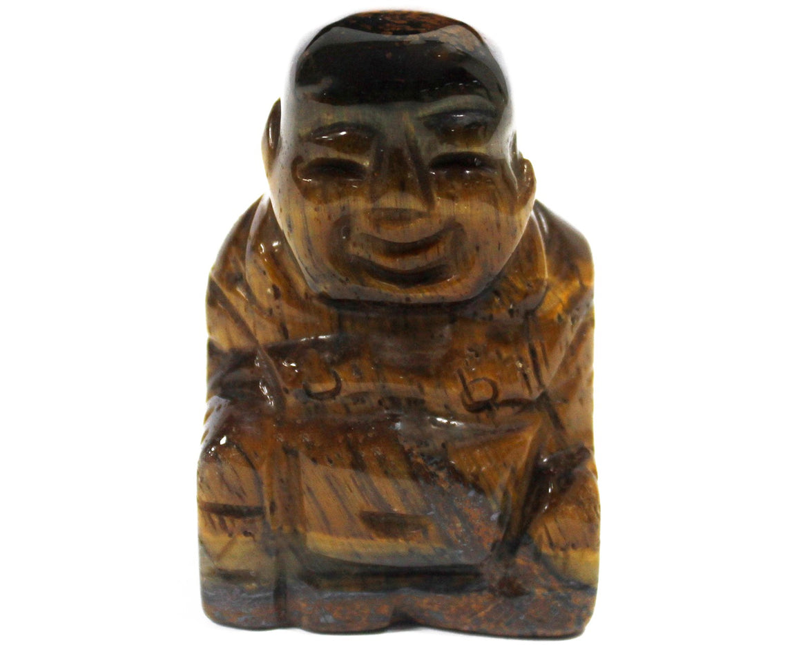 Gemstone Happy Buddha - Tiger Eye