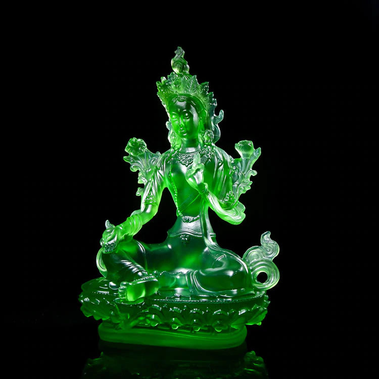Decorative Green Tara Buddha Glass Statue