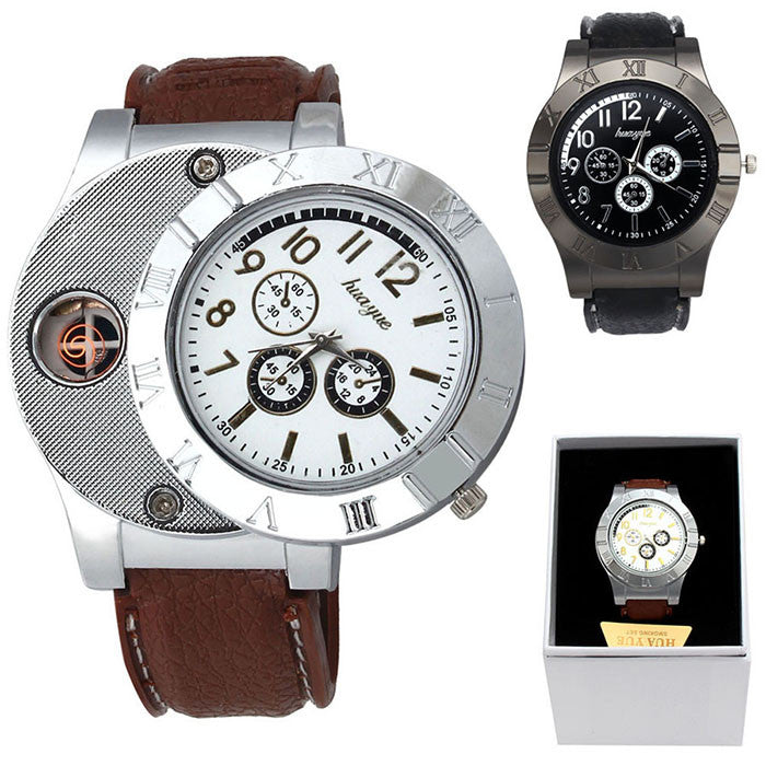 Fashion Military 2 in 1 Rechargeable USB Watch Lighter (Windproof) - Brown