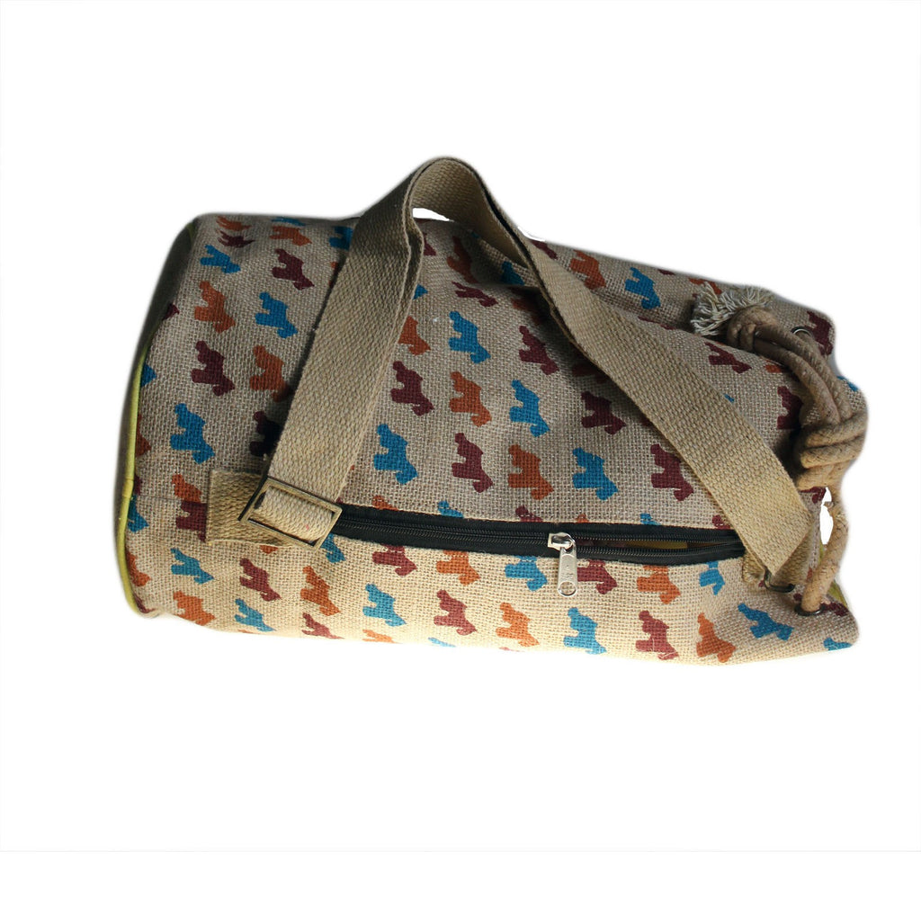 Scotty Dog Motif Jute Duffle Bag