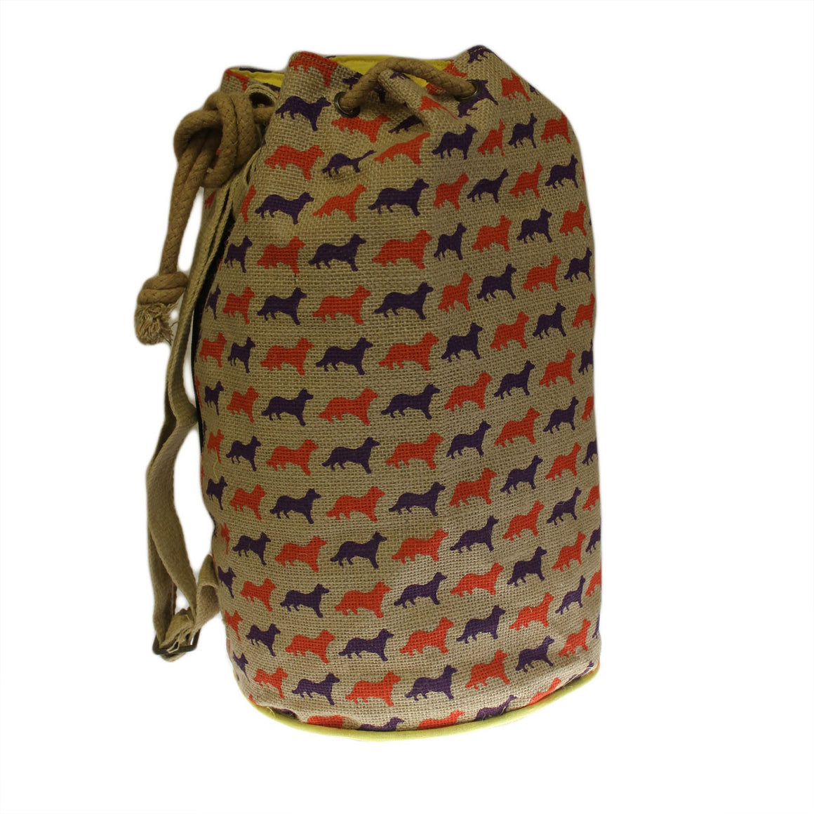 Fox Motif Jute Duffle Bag