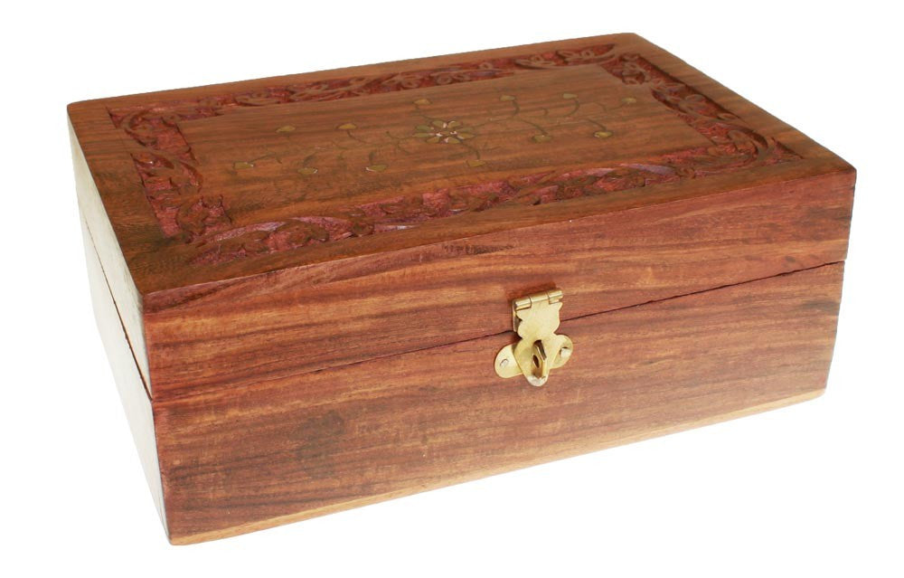 Aromatherapy Carved Box-holds 12x 10ml + 4x 100ml