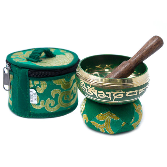 Mini Singing Bowl Gift Set - Green