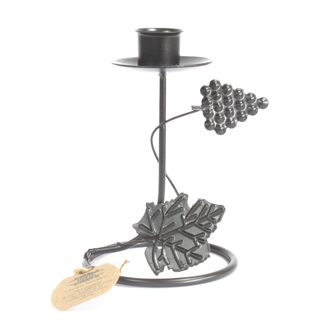 Iron Candle Holder - Single Stick Grape Vine