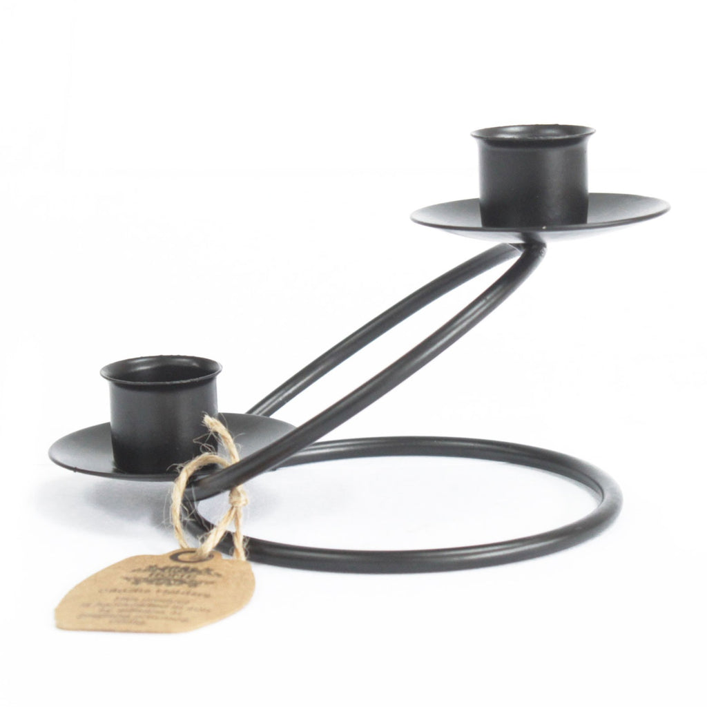 Iron Candle Holder - Double Stick Rings
