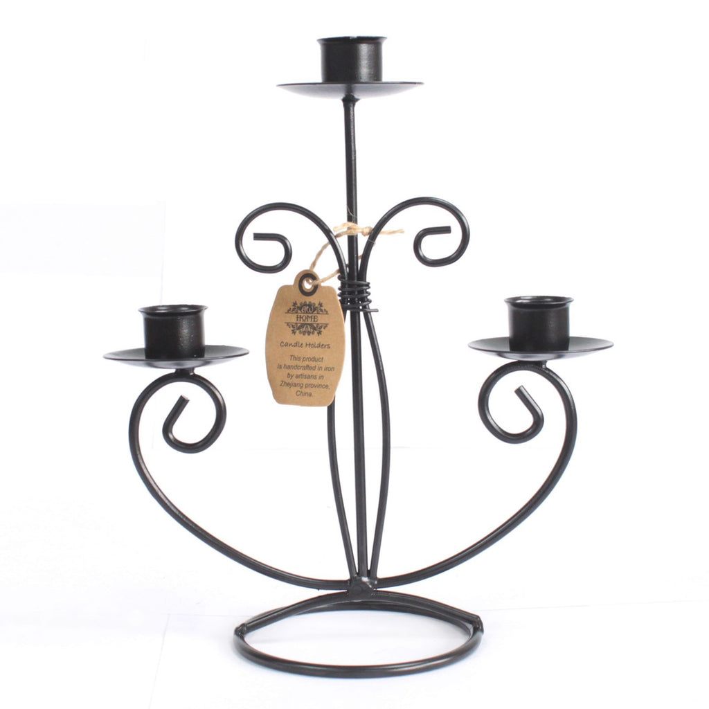 Iron Candle Holder - Tri Stick Classic
