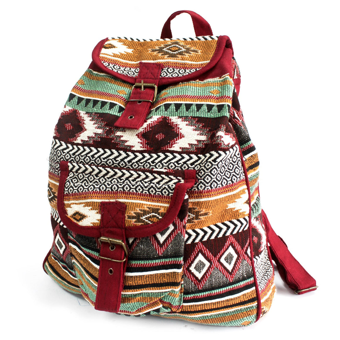 Bags, Chocolate, Ethnic Backpacks/Travel Bags, Ethnic Nepali Backpack, Jacquard Bag, Outdoors, Pink, Small Nepali Backpacks, Teal, Travel