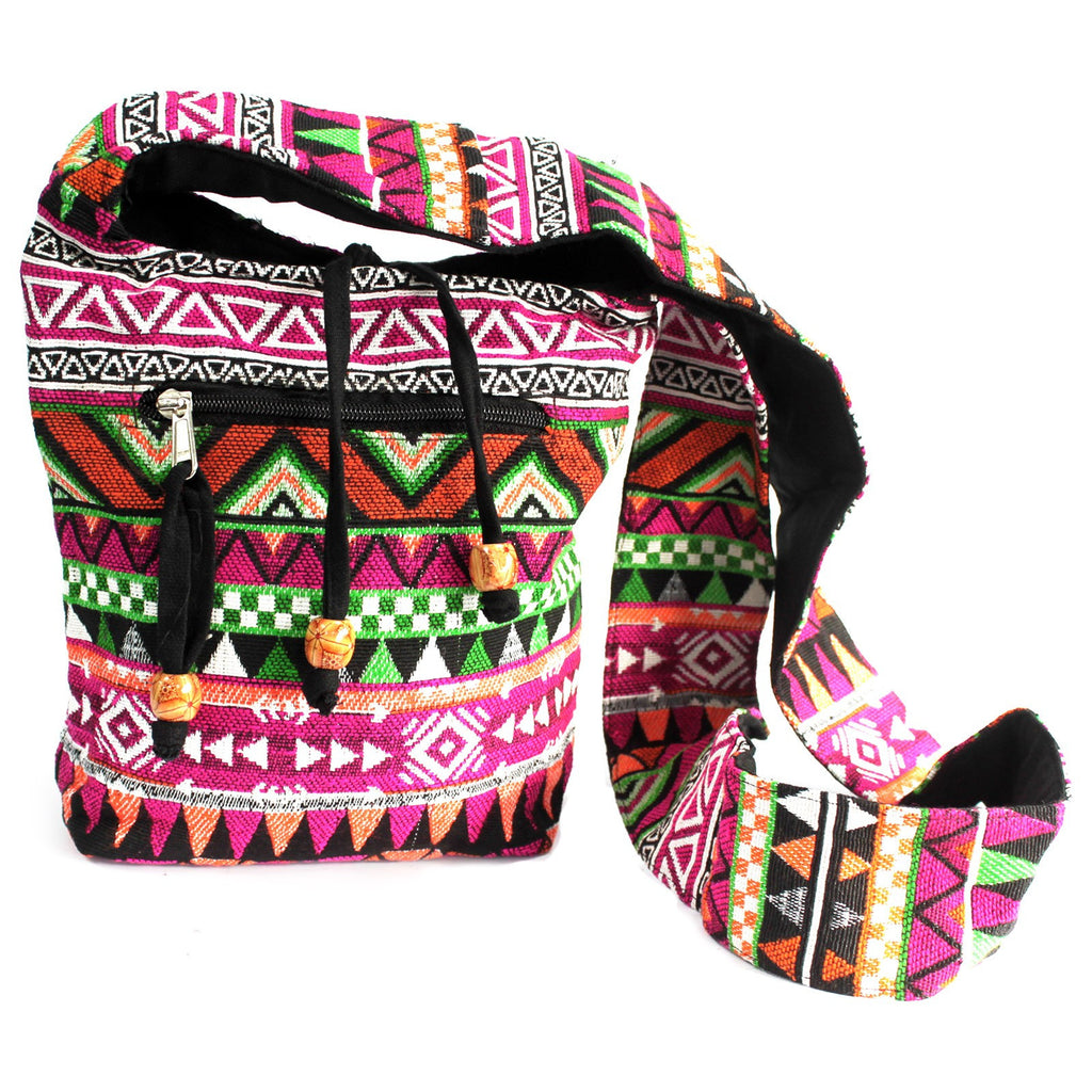 Bags, Chocolate, Ethnic Bags, Ethnic Nepali Backpack, Jacquard Bag, Outdoors, Pink, Sling Bag, Teal, Travel