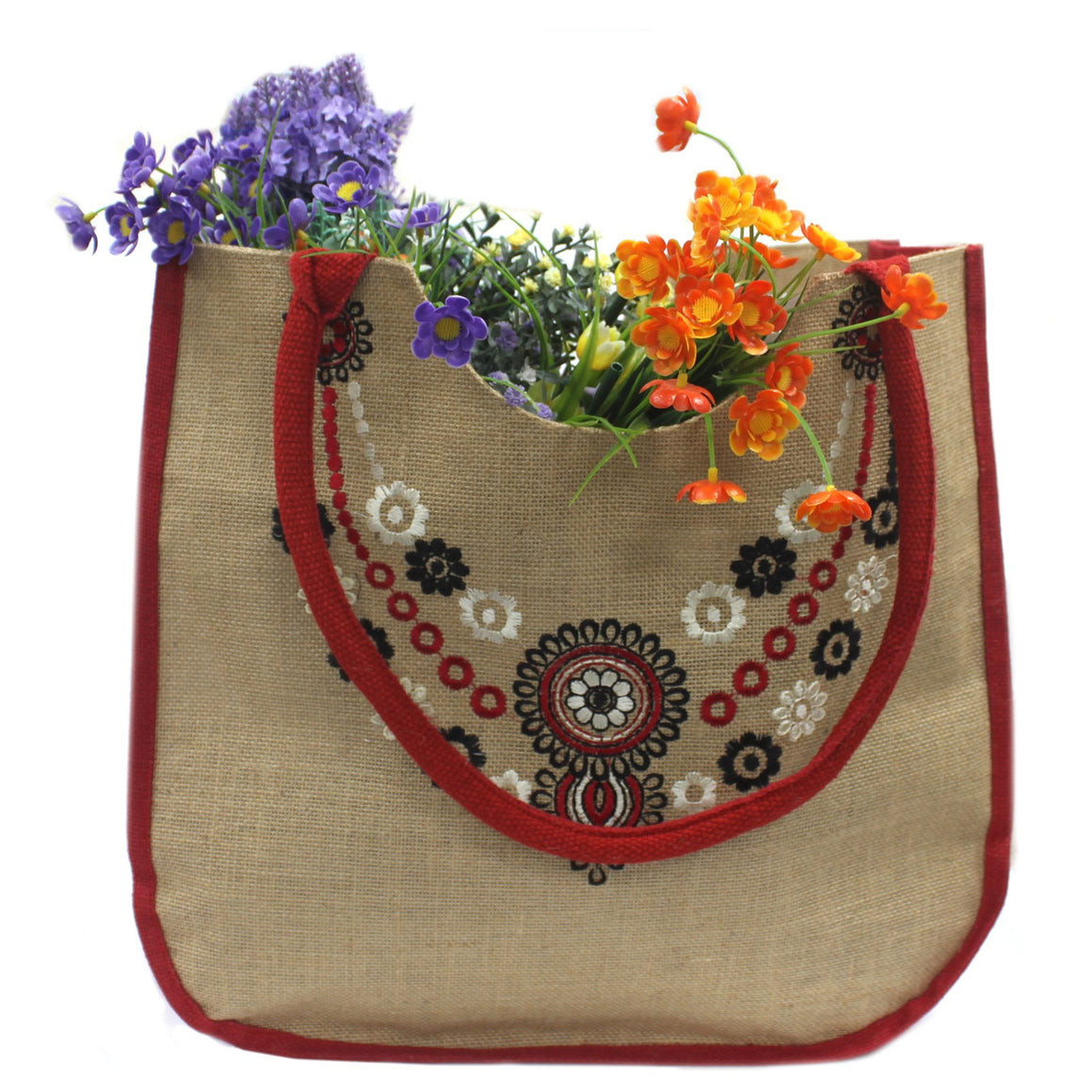 Floral Motif Jute Shopping Bag