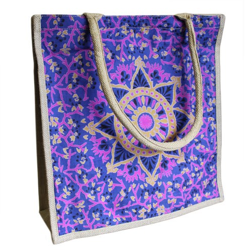 Blue Alpana Jute Shopping Bag