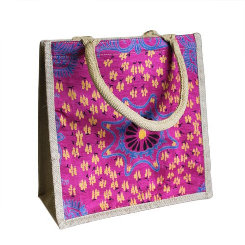 Pink Alpana Jute Shopping Bag