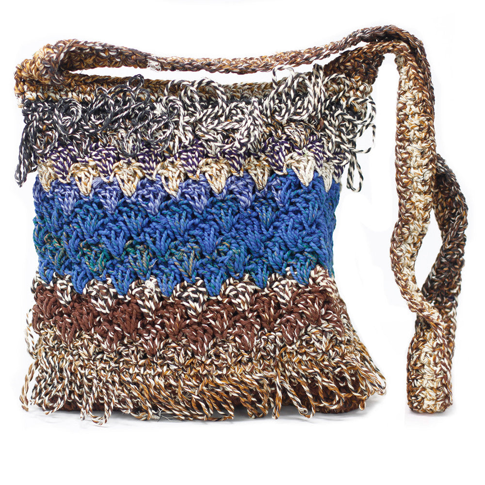 Crocheted Sling Bag - Soft brown ( Assorted Colours)