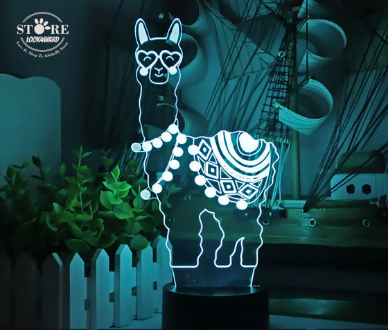 Multicolour Llama 3D Night LED Lamp