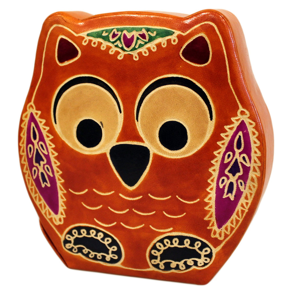 Leather Money Box - Large Brown Owl