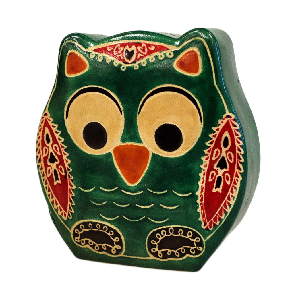 Leather Money Box - Small Green Owl