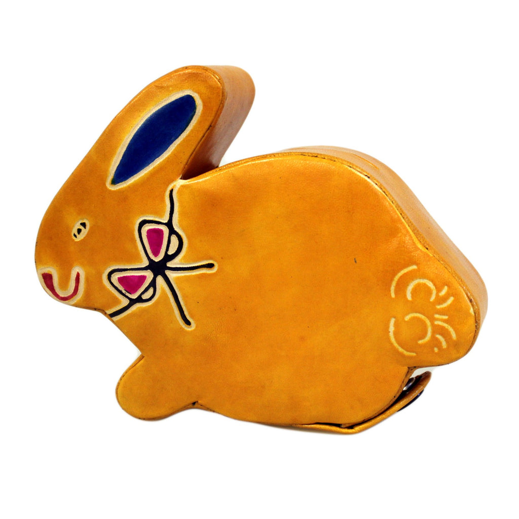 Leather Money Box - Small Yellow Bunny