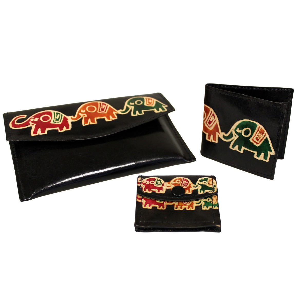 Leather Purse Set - Elephants - Black